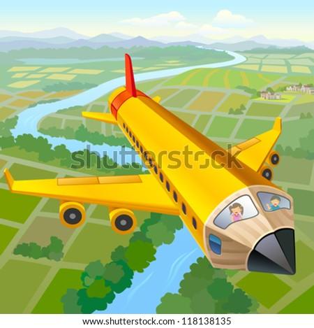 School Children On Pencil Plane Ride - stock vector