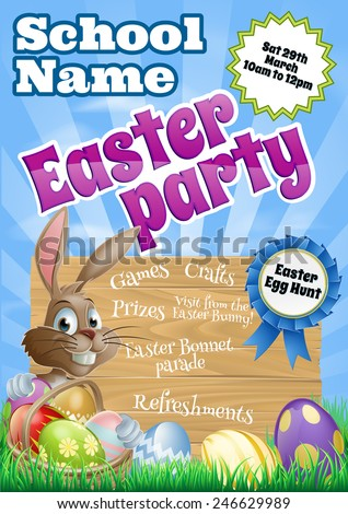 School children's Easter Party Flier invite invitation with a cute cartoon Easter bunny  - stock vector