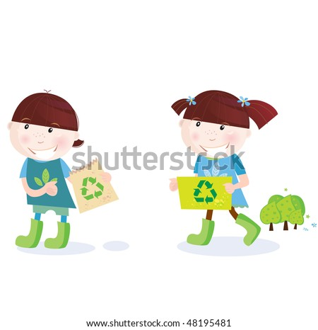 School childrens with recycle symbol. Recycle and save trees! Vector Illustration of school girl and boy with recycle signs. - stock vector