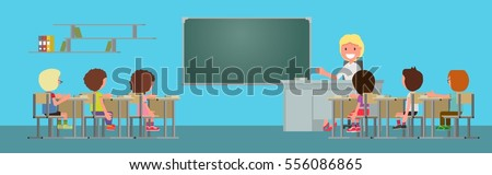 School class. The woman, a teacher leads the lesson. Teach children. Vector illustration. flat design style. suitable for animation. Horizontal banner.