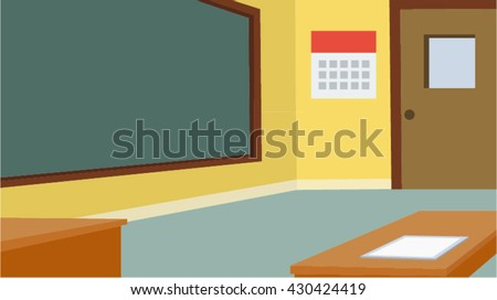 School classroom with chalkboard and desk - stock vector