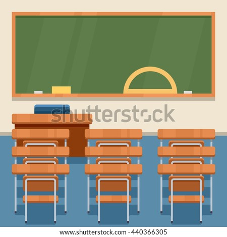 School classroom with chalkboard and desks. Class for education, board, table and study, blackboard and lesson. - stock vector