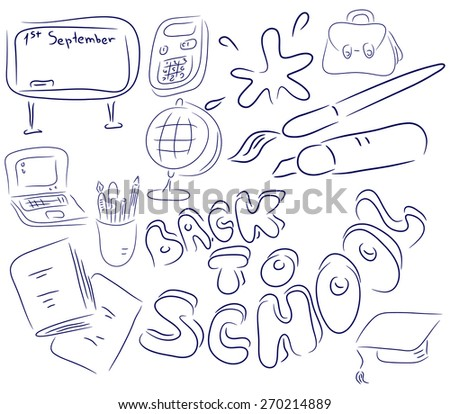 School collection objects are isolated on a white background