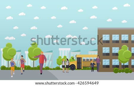 School concept vector banner. School yard, building and school bus. - stock vector
