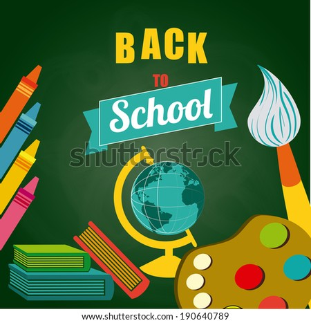 School design over green background, vector illustration - stock vector