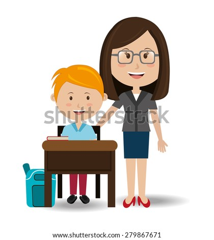 School design over white background, vector illustration. - stock vector
