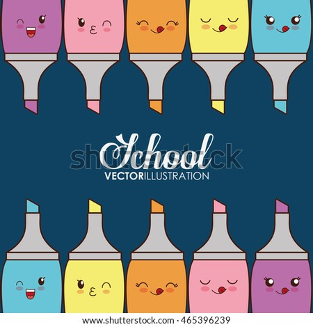School design represented by kawaii markers icon.Colorfull and blue background.