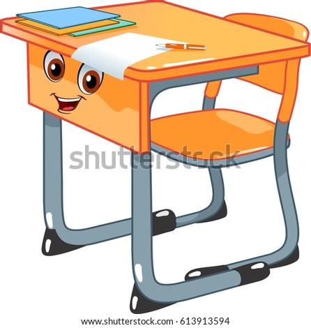 School Desk Chair Stock Vector 613913594 Shutterstock