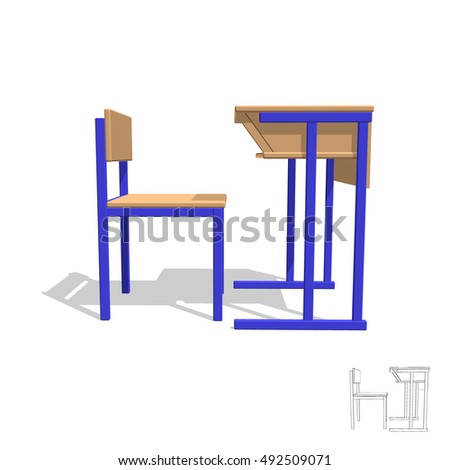 School desk.Isolated on white background. 3d Vector illustration.Side ... School Desk Background