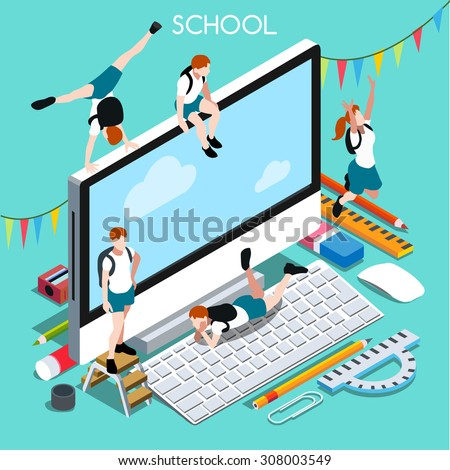 School Devices Set 02 Desktop Personal Computer Interacting People Unique Isometric Realistic Poses palette 3D Flat Illustration. Happy Back to School JPEG JPG Image Drawing Object Picture Graphic Art - stock vector