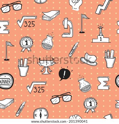 School Doodle Pattern Seamless version 3 - stock vector