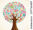 School education concept tree made with letters. Vector file layered for easy manipulation and custom coloring. - stock photo