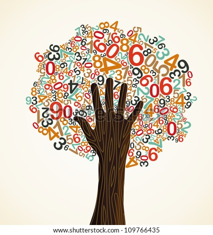 School education concept tree made with numbers and human hand. Vector file layered for easy manipulation and custom coloring.