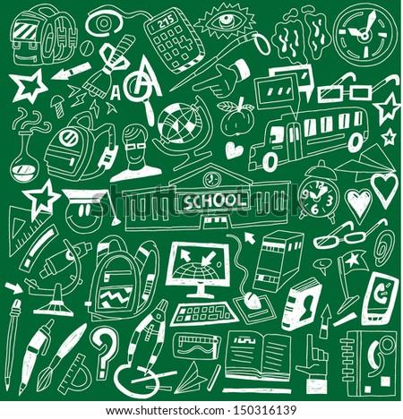 School education - doodles - stock vector