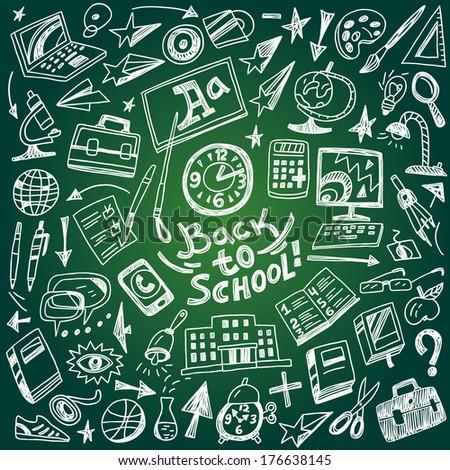 School education - doodles set - stock vector