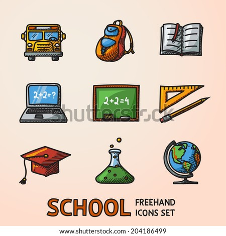 School (education) freehand colored icons set with - globe, notebook, blackboard, backpack, text book, graduation cap, school bus, science bulb. - stock vector