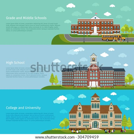 School education, high school and university study banners. Student and campus, graduation and architecture construction building, vector illustration - stock vector