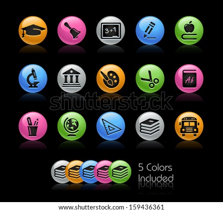 School & Education Icon set / The file Includes 5 color versions in different layers. - stock vector