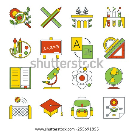 School, education icons. High school and college education with teaching and learning symbol and object. Flat icon vector illustration - stock vector