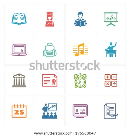 School & Education Icons Set 2 - Colored Series - stock vector