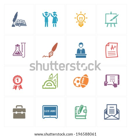 School & Education Icons Set 4 - Colored Series - stock vector