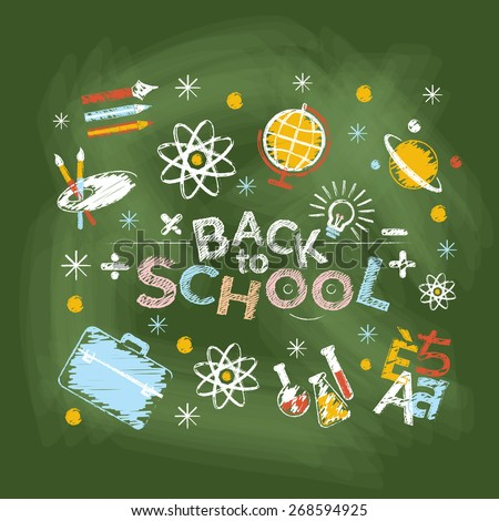 School, Education, Learning and Study, Heading Chalk Drawing Style - stock vector