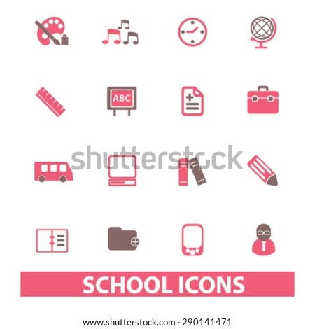 school, education, learning isolated icons, signs, illustrations, vector for internet, website, mobile application on white background - stock vector