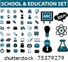 school & education & science icons, signs & vector illustrations - stock vector