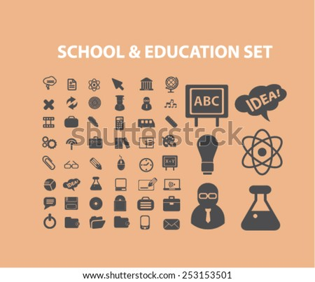 school, education, study concept - flat isolated icons, signs, illustrations set, vector - stock vector