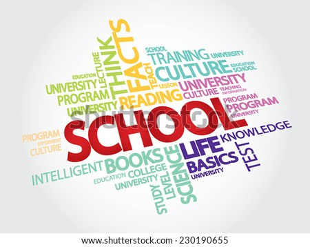 SCHOOL. EDUCATION. Word collage. Vector Illustration with different association terms - stock vector