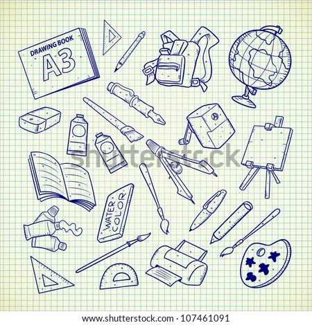 school equipment - stock vector