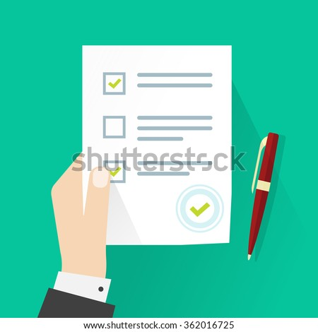 School exam test results vector illustration, student hand holding examination quiz paper form symbol with checkmark, pen flat icon, survey testing success sign isolated on green background - stock vector