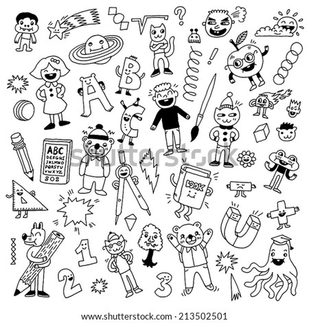 School fantasy creatures animals and kids doodle set. Hand drawn vector illustration. - stock vector