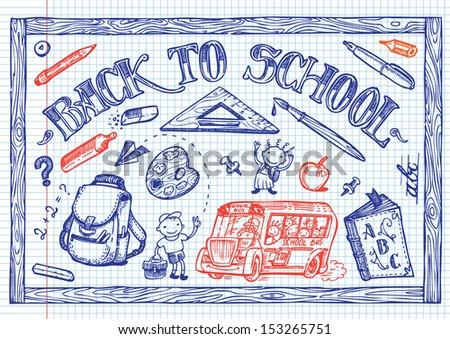 School fun doodles - stock vector
