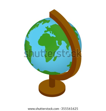 School geographical globe isometric 3d icon. Globus illustration isolated on a white  - stock vector