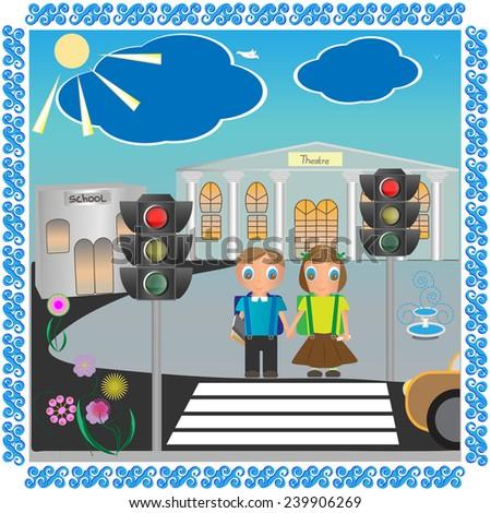 school girl and boy in vector pattern, EPS 10 - stock vector