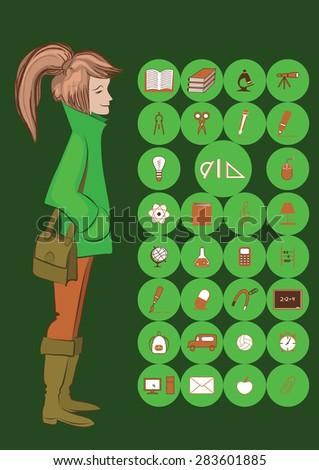 School girl and school icons - stock vector