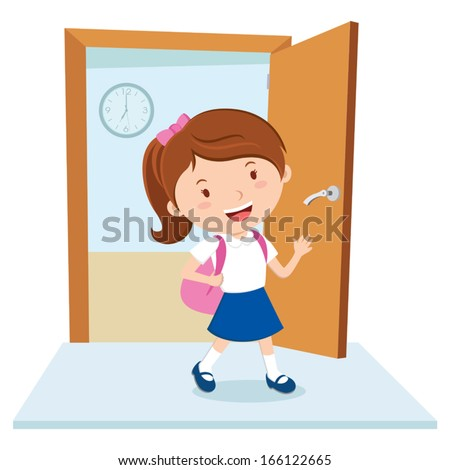 School girl. Vector illustration of a school girl with school bag. - stock vector