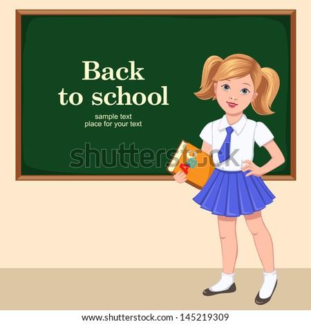 School girl with book near a desk vector illustration - stock vector
