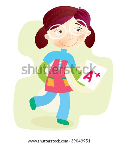 School Girl with test result. Happy cartoon girl with exam report. Vector Illustration.