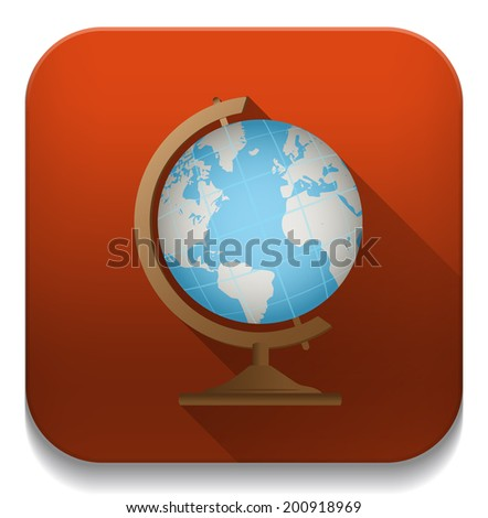 school globe geography icon With long shadow over app button