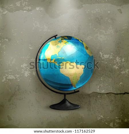 School globe, old-style vector - stock vector