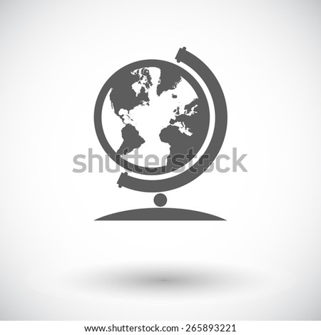 School globe. Single flat icon on white background. Vector illustration.