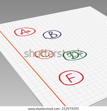 School grades on exercise book. Vector illustration - stock vector