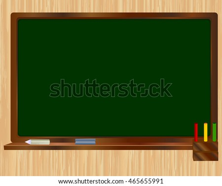 School green Board on wooden background with chalk and sponge. Realistic vector illustration.