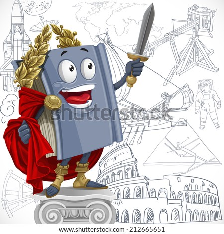 School history textbook on sketch significant developments background - stock vector