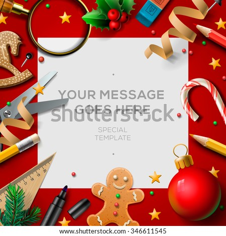 School holidays, Christmas break poster, background for winter end of term,  vector illustration. - stock vector