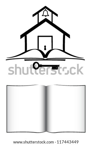 School House , Book, And Key - stock vector