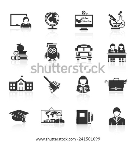 School icon black set with classroom books bus isolated vector illustration - stock vector