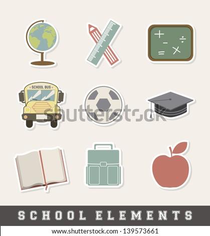 school icon over cream background vector illustration - stock vector